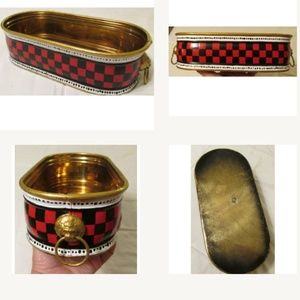 Vtg brass tub upcycled buffalo check hand painted